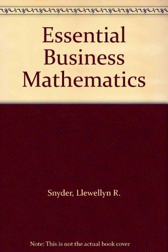 9780070595675: Essential Business Mathematics