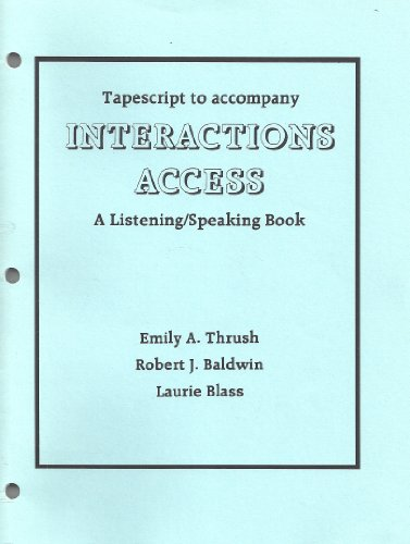 9780070629578: Transcript to Accompany Interactions Access, A Listening/Speaking Book