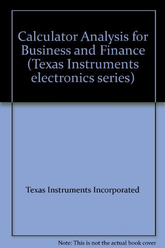 9780070637573: Calculator Analysis for Business and Finance (Texas Instruments electronics series)