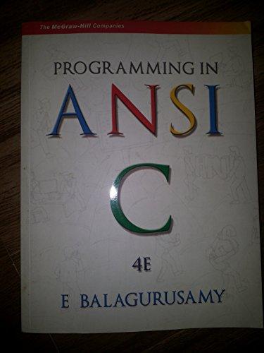 Programming in ANSI C: E Balagurusamy