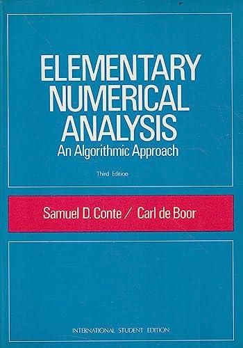 9780070662285: Elementary Numerical Analysis: Algorithmic Approach