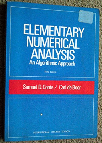 9780070662285: Elementary Numerical Analysis: Algorithmic Approach