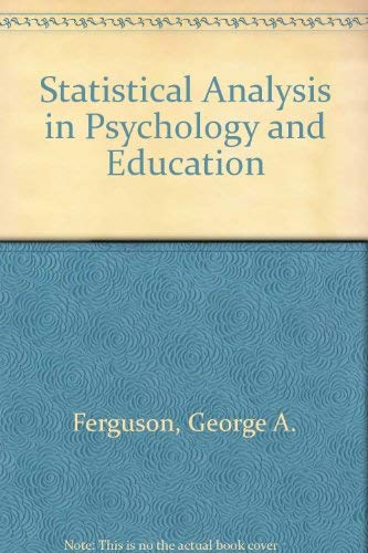 9780070662827: Statistical Analysis in Psychology and Education