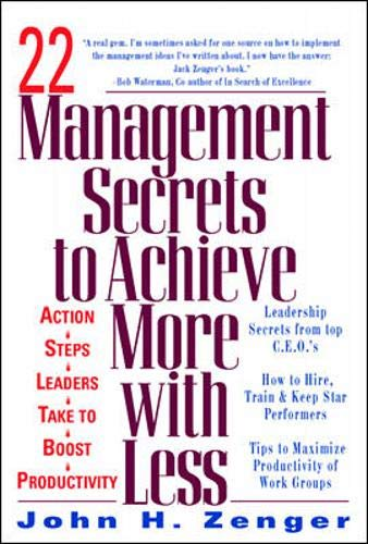 9780070727175: 22 Management Secrets to Achieve More with Less