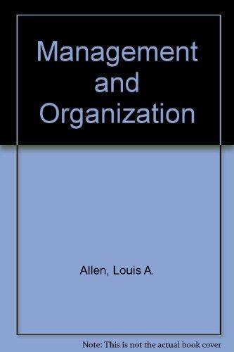 9780070850125: Management and Organization (Management)