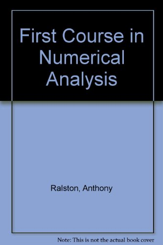 9780070855861: First Course in Numerical Analysis (International Series in Pure & Applied Mathematics)