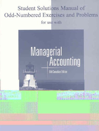 9780070915305: Student Solutions Manual to accompany Managerial Accounting