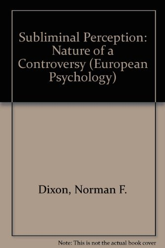 9780070941472: Subliminal Perception: Nature of a Controversy (European Psychology)
