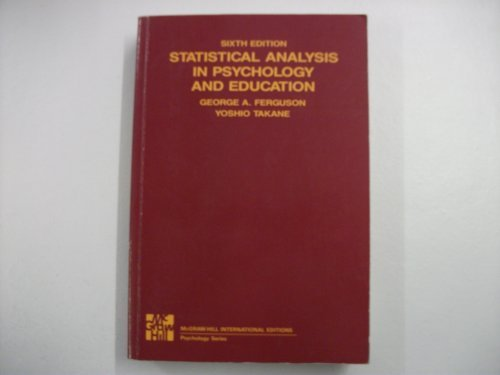 9780071004381: Statistical Analysis in Psychology and Education