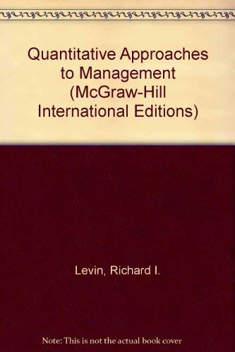 9780071005418: Quantitative Approaches to Management (McGraw-Hill International Editions)