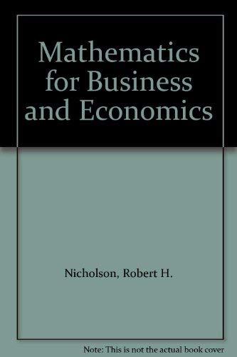 9780071005876: Mathematics for Business and Economics