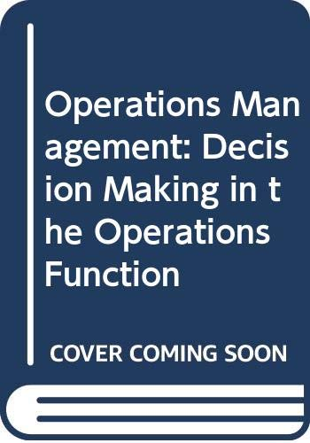 9780071006033: Operations Management: Decision Making in the Operations Function