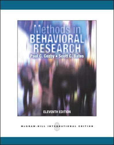 9780071086288: Methods in Behavioral Research