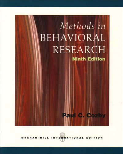 9780071109635: Methods in Behavioral Research