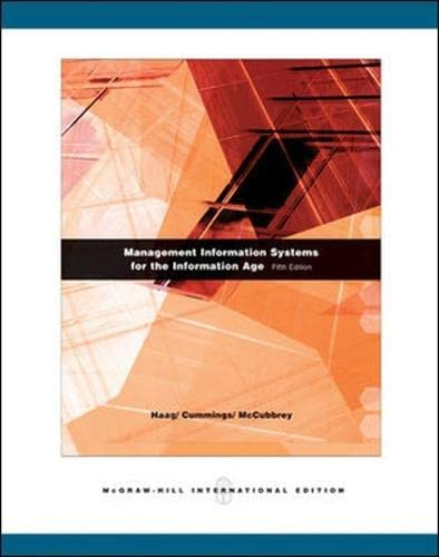 Management Information Systems for the Information Age: Cummings; Haag