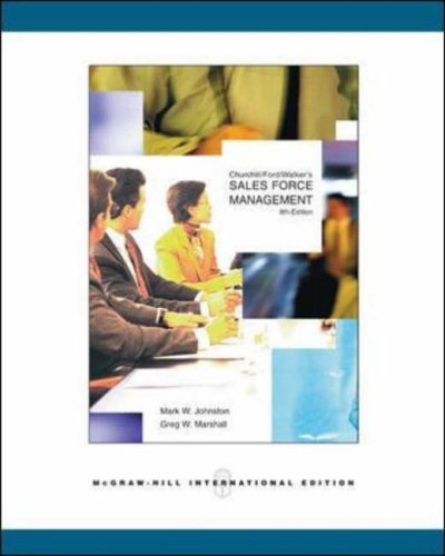 9780071116053: Churchill - Ford - Walker's Sales Force Management