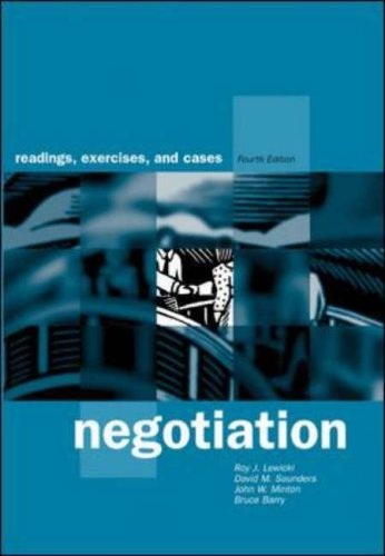 9780071123167: Negotiation: Readings, Exercises, and Cases / Roy J. Lewicki ... Et Al