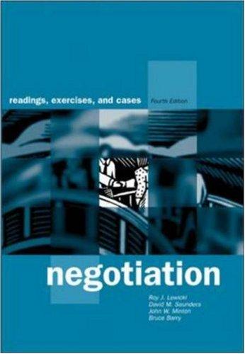 9780071123167: Negotiation: Readings, Exercises, and Cases / Roy J. Lewicki ... Et Al
