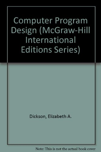 9780071152419: Computer Program Design (McGraw-Hill International Editions)