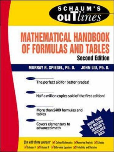9780071167659: Schaum's Mathematical Handbook of Formulas and Tables (Schaum's Outline)