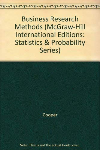 Business Research Methods (McGraw-Hill International Editions: Statistics: Cooper