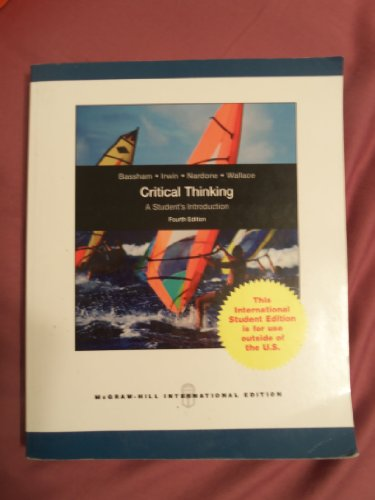 9780071221412: Critical Thinking: A Student's Introduction by Gregory Bassham (2010-01-05)