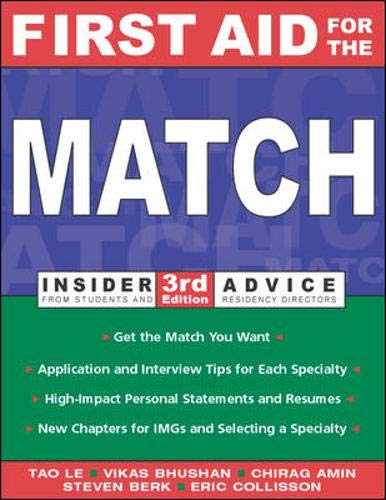 9780071237345: First Aid for the Match (Insider Advice from Students and Residency Directors)