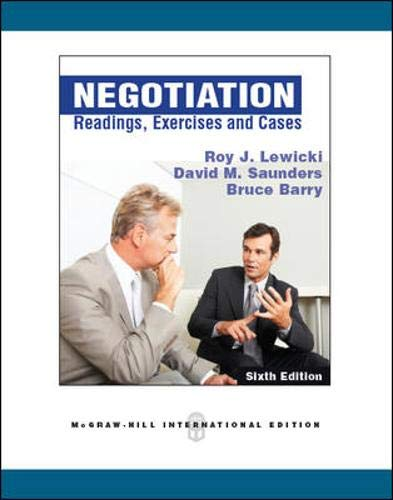 9780071267748: Negotiation: Readings, Exercises, and Cases (Int'l Ed)
