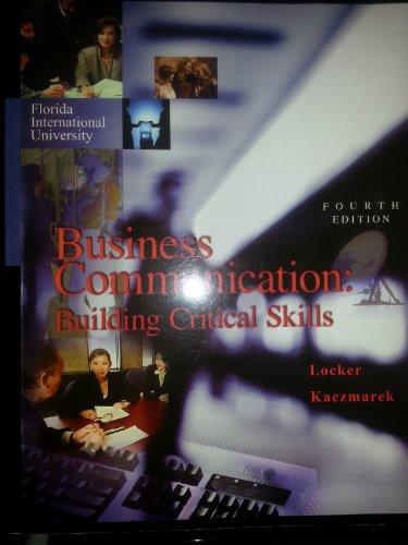 9780071280242: Business Communication. Kitty Locker, Stephen Kaczmarek