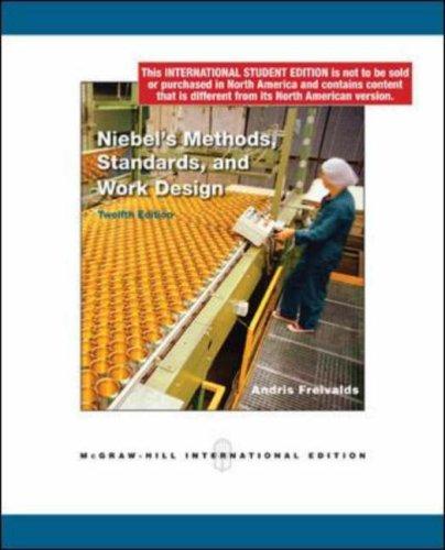 9780071283229: Niebel's Methods, Standards, and Work Design