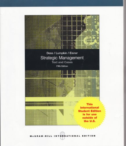 9780071314053: Strategic Management Text and Cases Fifth Edition