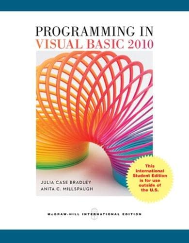 9780071314213: Programming in Visual Basic 2010 (College Ie Overruns)