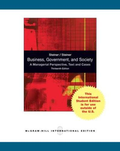 9780071316637: Business, Government, and Society: A Managerial Perspective