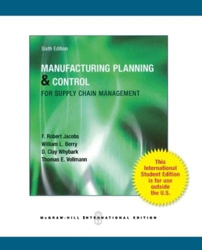 9780071325189: Manufacturing Planning and Control for Supply Chain Management (Int'l Ed)