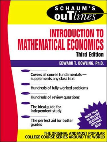 9780071358965: Schaum's Outline Introduction to Mathematical Economics