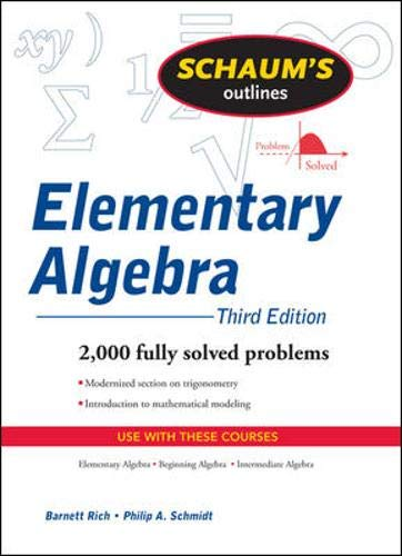9780071410830: Schaum's Outline of Elementary Algebra ( Third Edition )