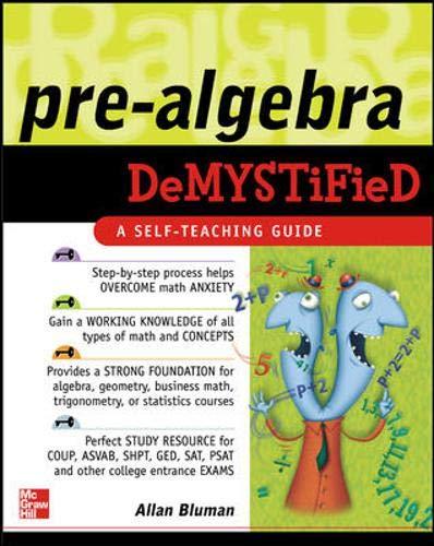 9780071439312: Pre-Algebra Demystified: A Self-teaching Guide