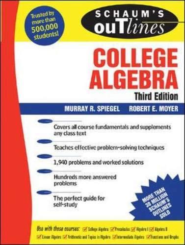 9780071452274: Schaum's Outline of College Algebra, 3/e (Schaum's Outline Series) (v. 3)