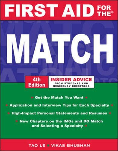 9780071472913: First Aid for the Match, Fourth Edition (First Aid Series)