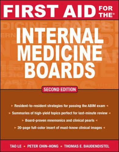 9780071499132: First Aid for the Internal Medicine Boards: A Resident-to-resident Guide (First Aid Specialty Boards)