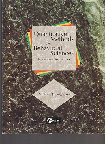 9780071541251: Quantitative Methods for Behavioral Sciences: Introduction to Statistics