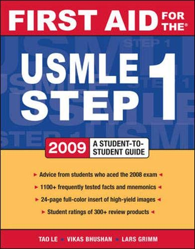 9780071548960: First Aid for the USMLE Step 1 2009: A Student to Student Guide (First Aid USMLE)