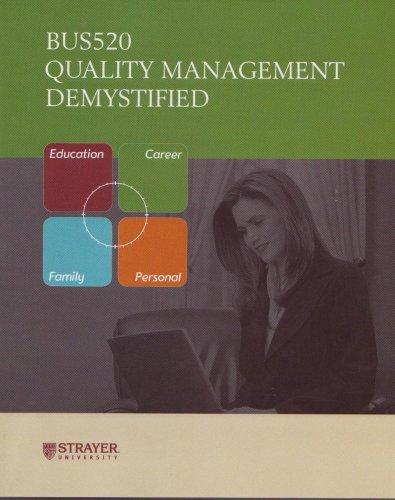 9780071621328: Quality Management Demystified (Bus520) (Strayer University)