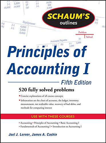 9780071635387: Schaum's Outline of Principles of Accounting I, Fifth Edition (Schaum's Outlines)