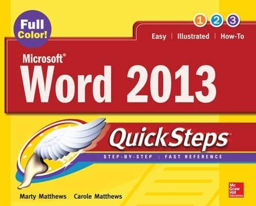 9780071805971: Microsoft® Word 2013 QuickSteps