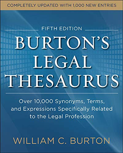 9780071818810: Burtons Legal Thesaurus 5th edition: Over 10,000 Synonyms, Terms, and Expressions Specifically Related to the Legal Profession