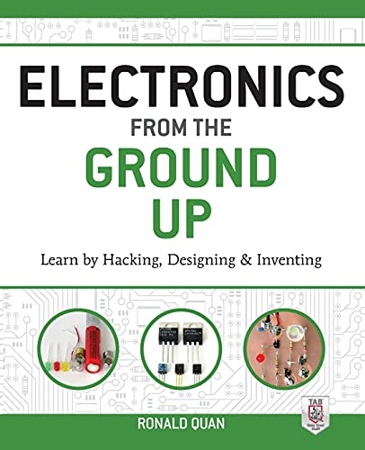 """Electronics from the Ground Up: Learn by Hacking, Designing, and Inventing 9780071837286 Discover the inner-workings of electronics through innovative hands-on experiments Are you fascinated by the power of even the smallest electronic device? Electronics from the Ground Up guides you through step-by-step experiments that reveal how electronic circuits function so you can advance your skills and design custom circuits. You'll work with a range of circuits and signals related to optical emitters and receivers, audio, oscillators, and video. This practical resource explains components, construction techniques, basic test equipment, circuit analysis, and troubleshooting. Photographs, schematics, equations, and graphs are included throughout. By the end of the book, you'll be able to hack and modify existing circuits to create your own unique designs. Do-it-yourself experiments cover: Batteries, lamps, and flashlights Light emitters and receivers Diodes, rectifiers, and associated circuits Transistors, FETs, and vacuum tubes Amplifiers and feedback Audio signals and circuits Oscillators AM and FM signals and circuits Video basics, including video signals Video circuits and systems """"Excellent… Nothing can replace hands-on experience and Quan immerses the hobbyist/designer right into the fray up to their elbows.""""―EDN Magazine"""