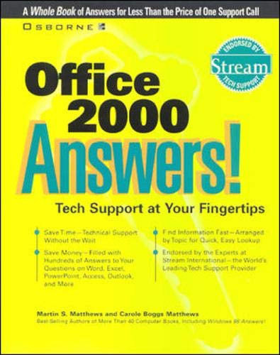 9780072118889: Office 2000 answers! Tech Support at Your Fingertips