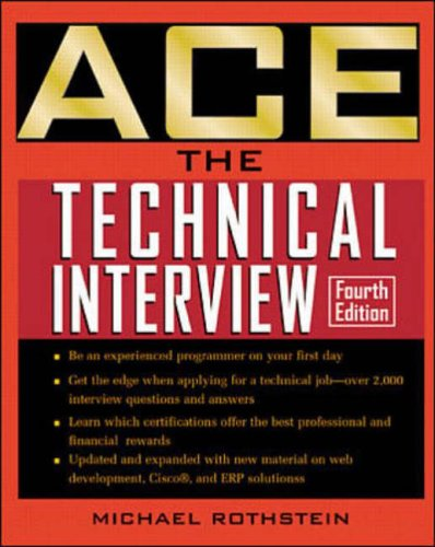 9780072126228: Ace the Technical Interview