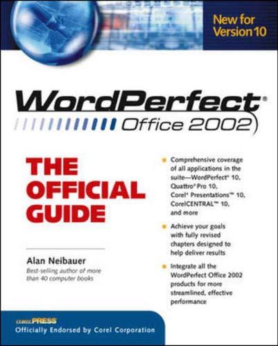 9780072132496: WordPerfect Office 2002: The Official Guide (Osborne CORELPRESSTM Series)